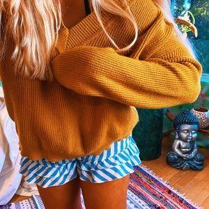Mustard Orange Dazey V Neck Hippie Sweater ✨